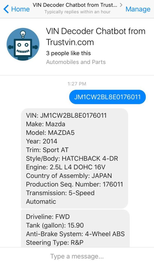 VIN Decoder Chatbot - Bot Directory